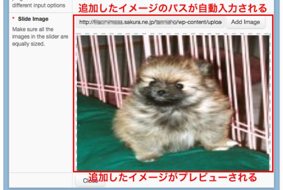 WP Slider Pluginで正常に画像アップロードされたとき